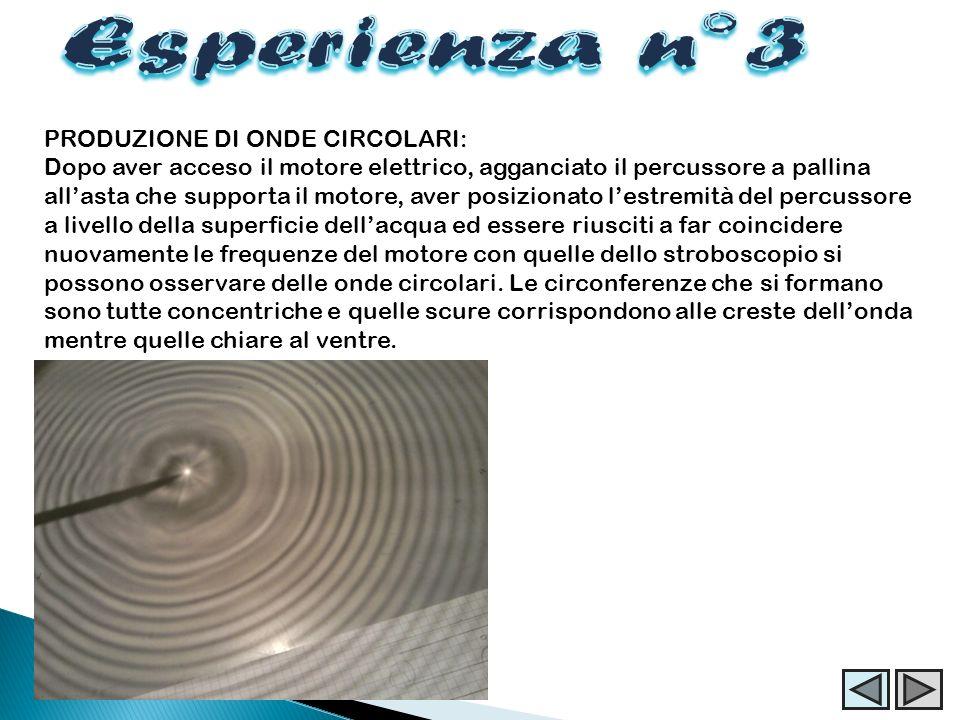 Esperienza n°3 PRODUZIONE DI ONDE CIRCOLARI: