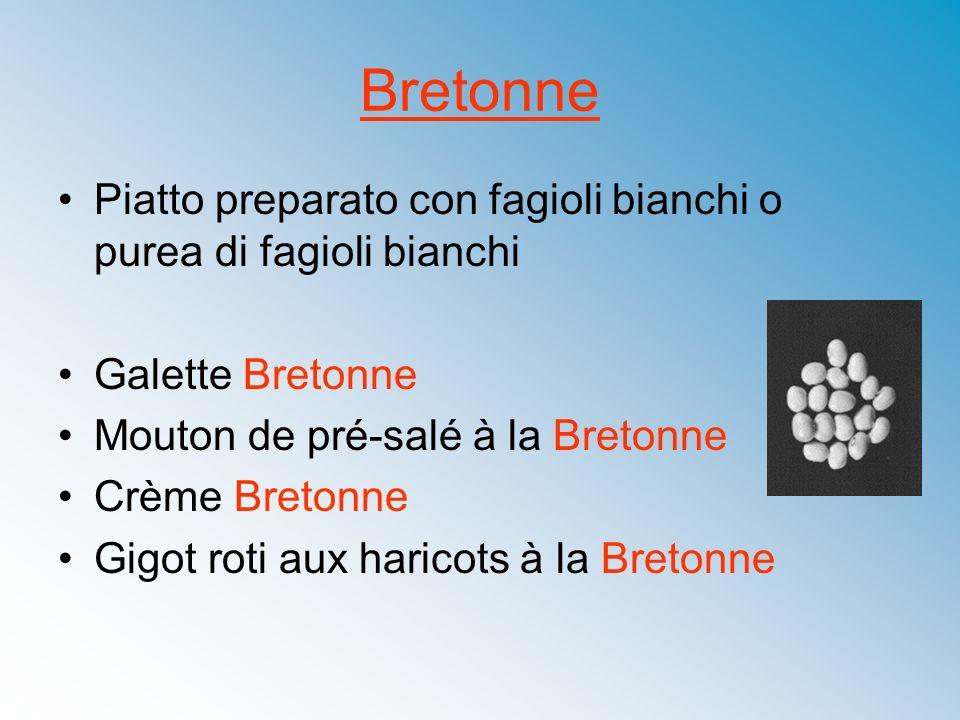 BretonnePiatto preparato con fagioli bianchi o purea di fagioli bianchi. Galette Bretonne. Mouton de pré-salé à la Bretonne.