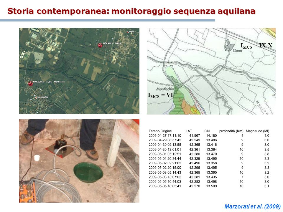 Storia contemporanea: monitoraggio sequenza aquilana