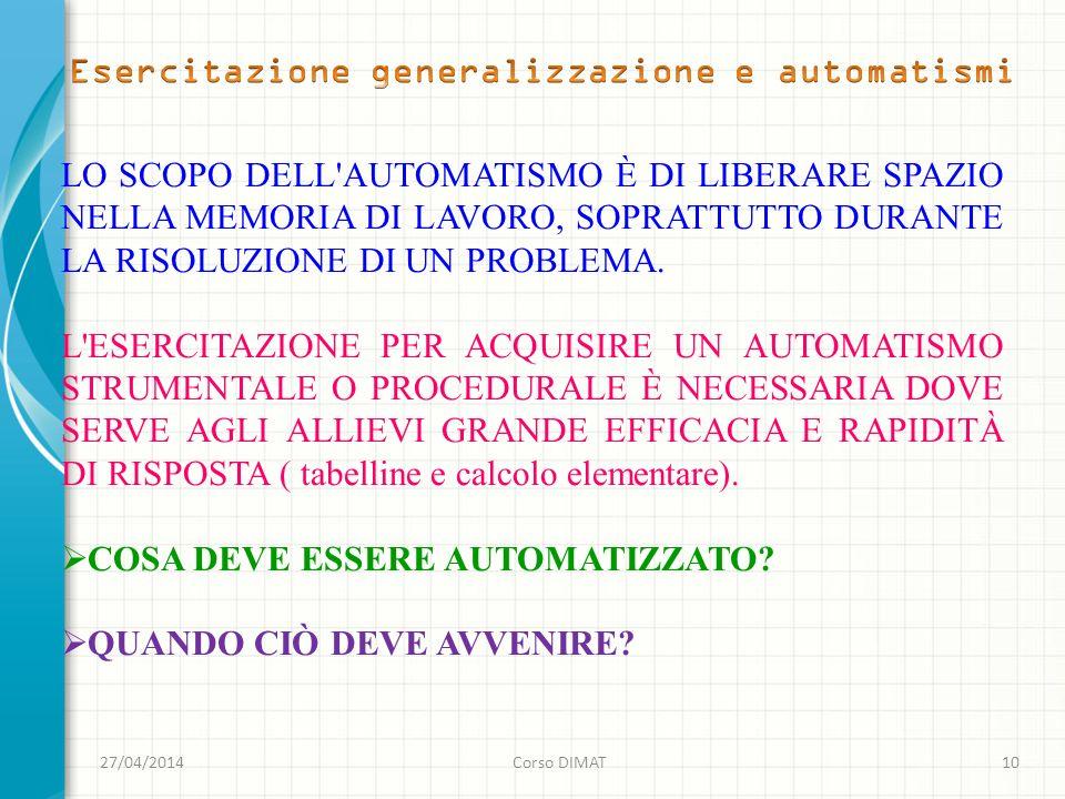 Esercitazione generalizzazione e automatismi