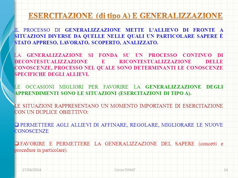 ESERCITAZIONE (di tipo A) E GENERALIZZAZIONE