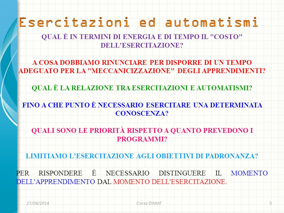 Esercitazioni ed automatismi