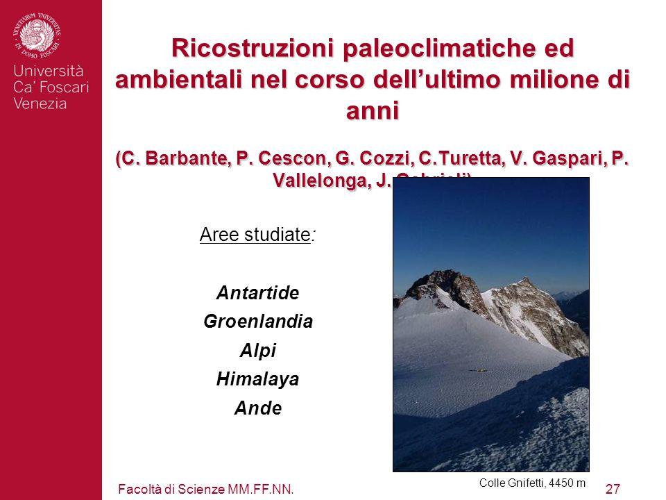 Ricostruzioni paleoclimatiche ed ambientali nel corso dell'ultimo milione di anni (C. Barbante, P. Cescon, G. Cozzi, C.Turetta, V. Gaspari, P. Vallelonga, J. Gabrieli)