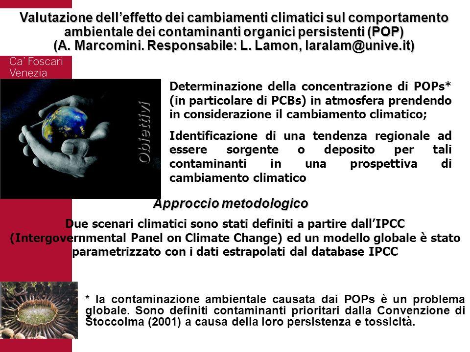 Valutazione dell'effetto dei cambiamenti climatici sul comportamento ambientale dei contaminanti organici persistenti (POP)