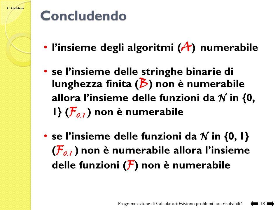Concludendo l'insieme degli algoritmi (A) numerabile