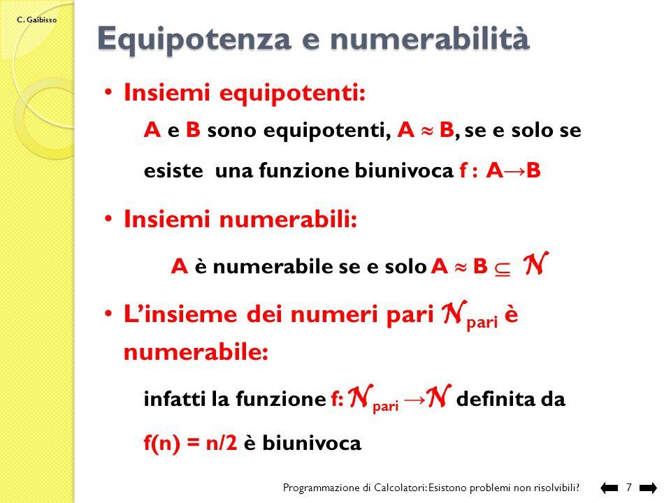 Equipotenza e numerabilità