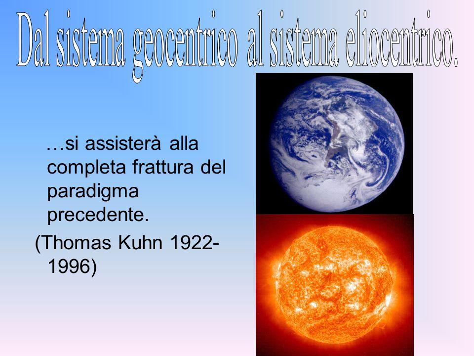 Dal sistema geocentrico al sistema eliocentrico.