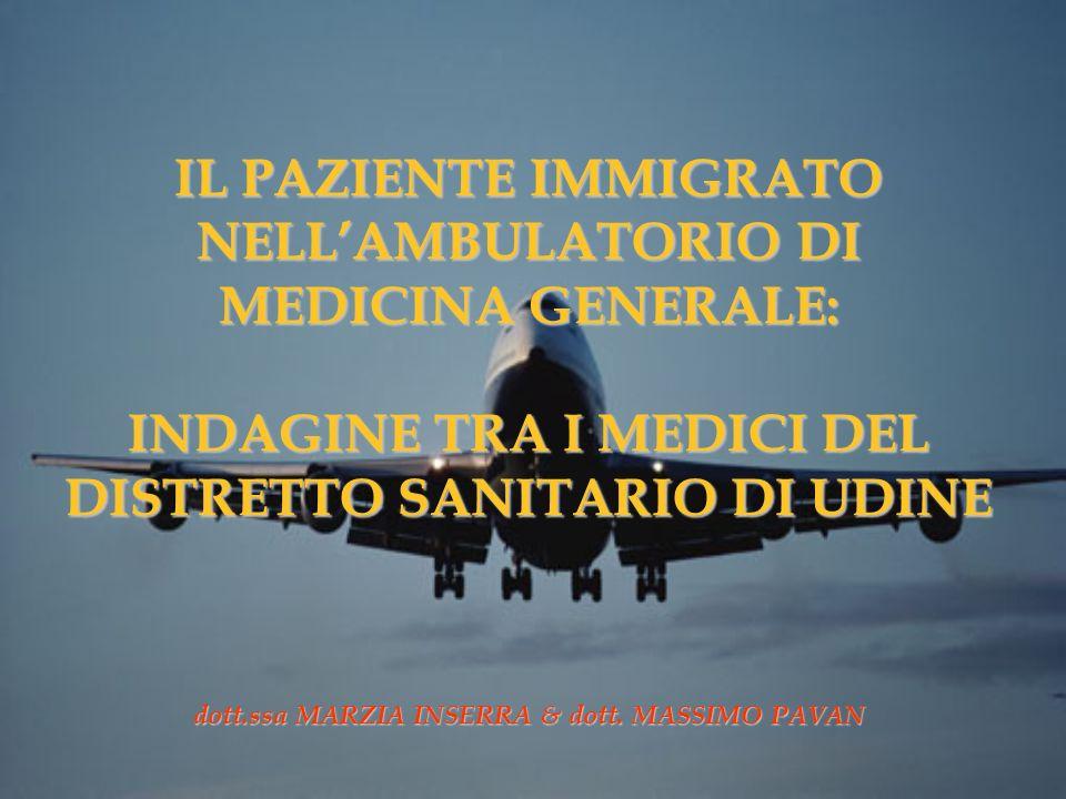 IL PAZIENTE IMMIGRATO NELL'AMBULATORIO DI MEDICINA GENERALE: INDAGINE TRA I MEDICI DEL DISTRETTO SANITARIO DI UDINE dott.ssa MARZIA INSERRA & dott.
