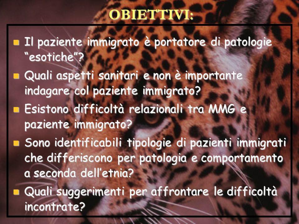 OBIETTIVI: Il paziente immigrato è portatore di patologie esotiche