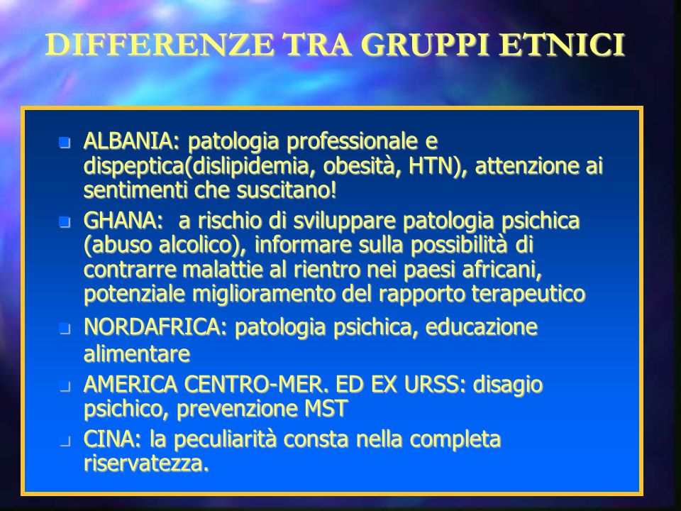 DIFFERENZE TRA GRUPPI ETNICI