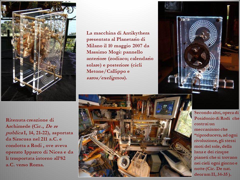 La macchina di Antikythera presentata al Planetario di Milano il 10 maggio 2007 da Massimo Mogi: pannello anteriore (zodiaco; calendario solare) e posteriore (cicli Metone/Callippo e saros/exeligmos).