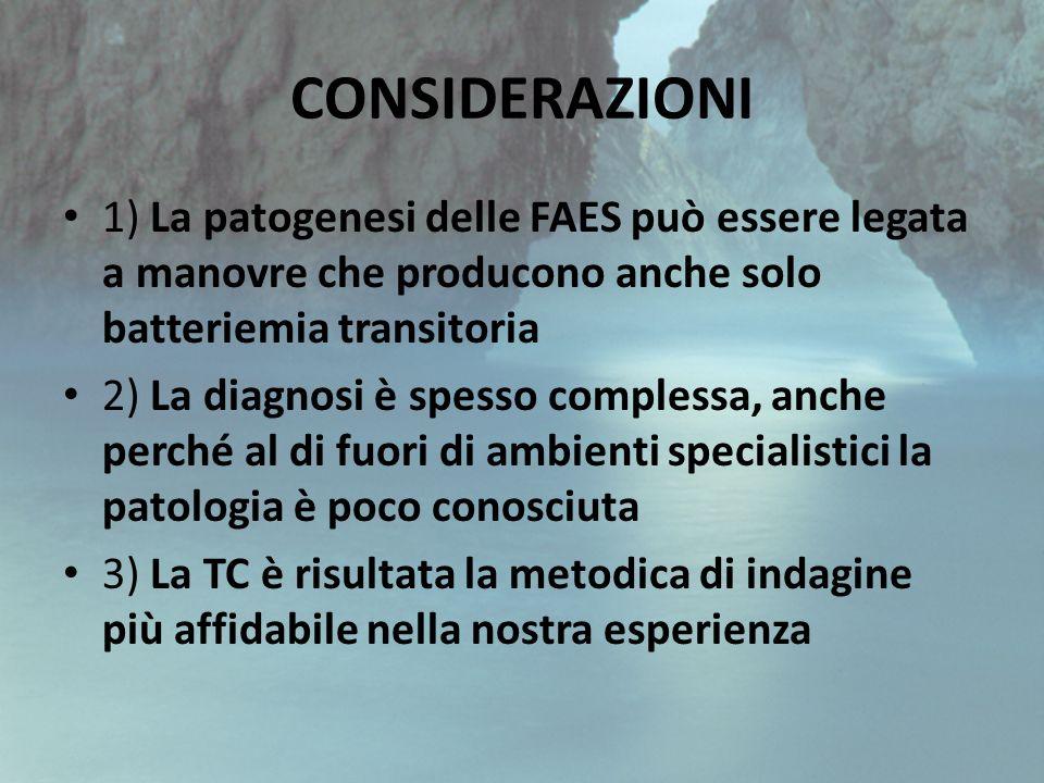 CONSIDERAZIONI 1) La patogenesi delle FAES può essere legata a manovre che producono anche solo batteriemia transitoria.