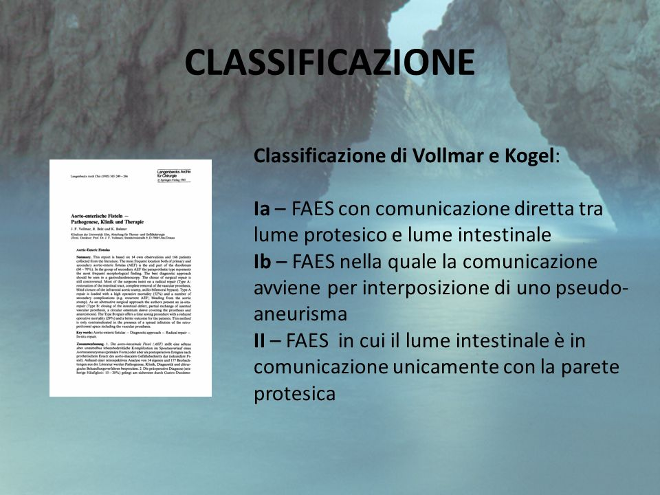 CLASSIFICAZIONE Classificazione di Vollmar e Kogel: