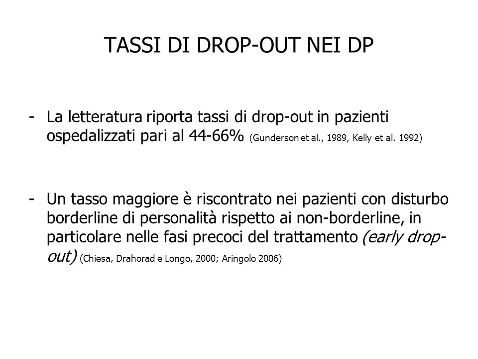 TASSI DI DROP-OUT NEI DP