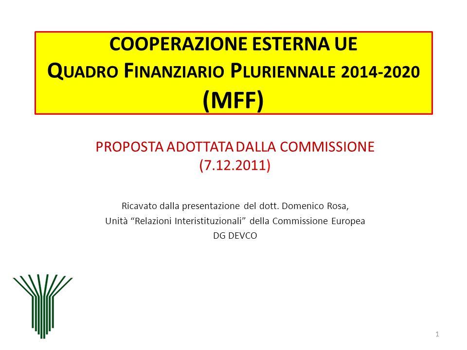 COOPERAZIONE ESTERNA UE QUADRO FINANZIARIO PLURIENNALE 2014-2020 (MFF)