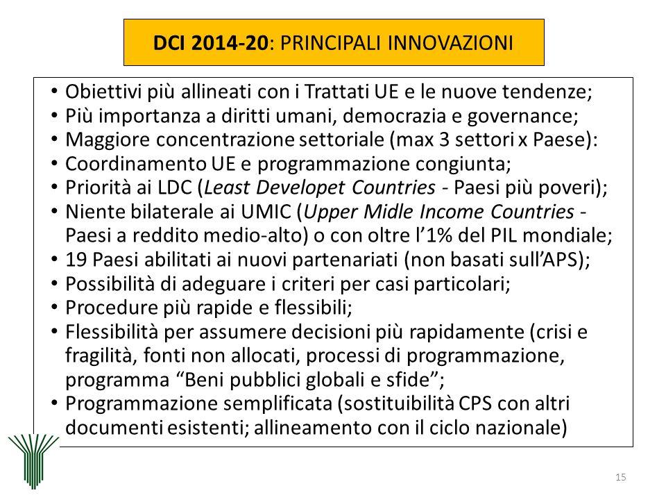 DCI 2014-20: PRINCIPALI INNOVAZIONI