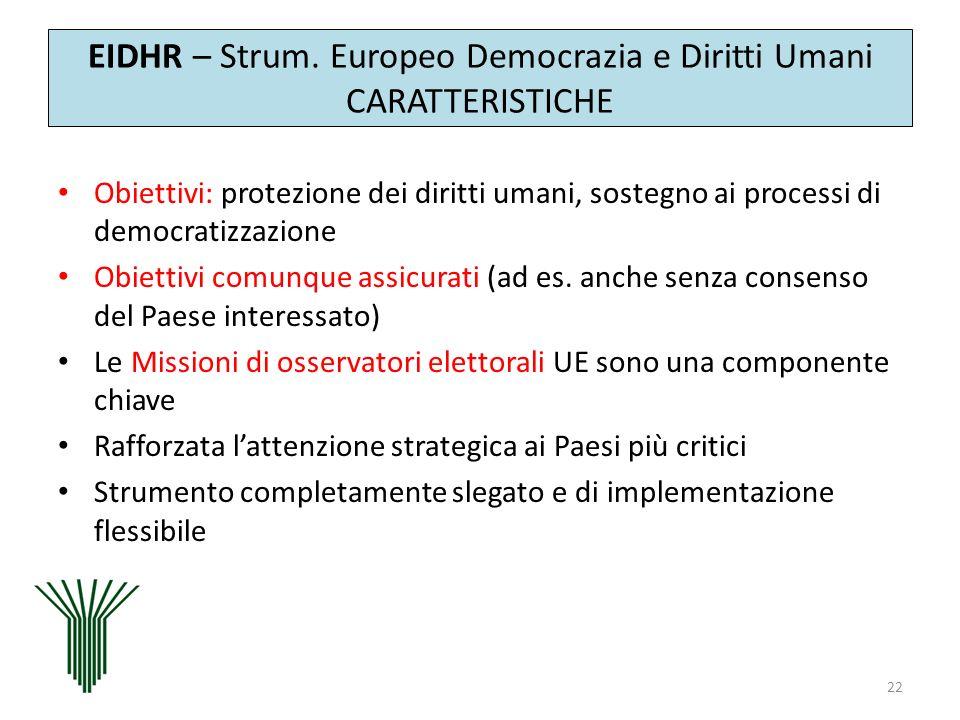 EIDHR – Strum. Europeo Democrazia e Diritti Umani CARATTERISTICHE
