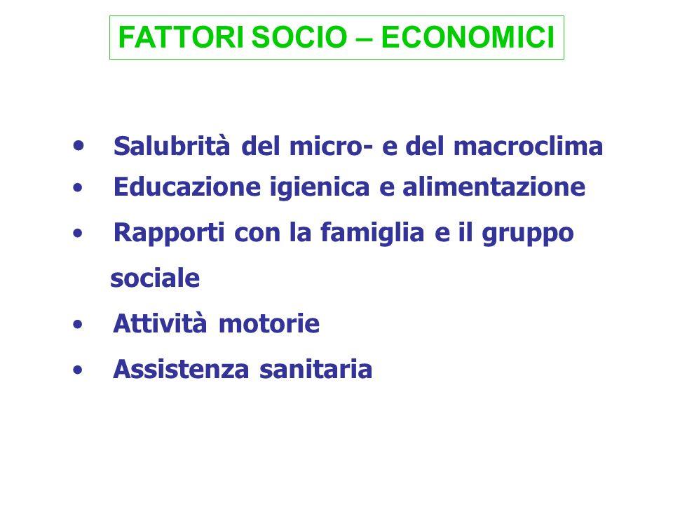 FATTORI SOCIO – ECONOMICI