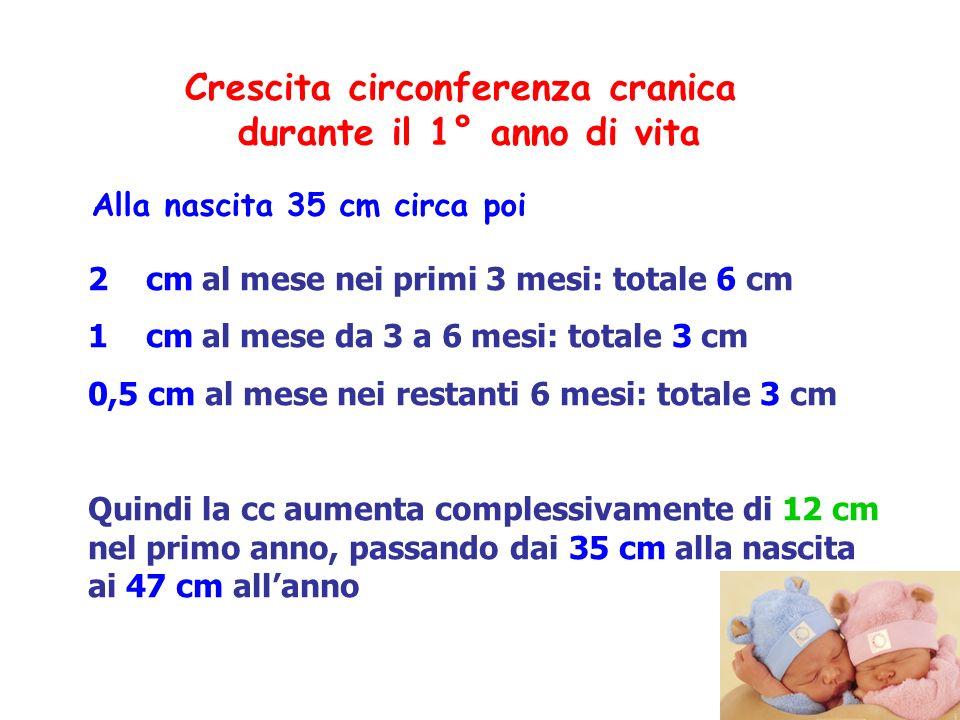 Crescita circonferenza cranica durante il 1° anno di vita