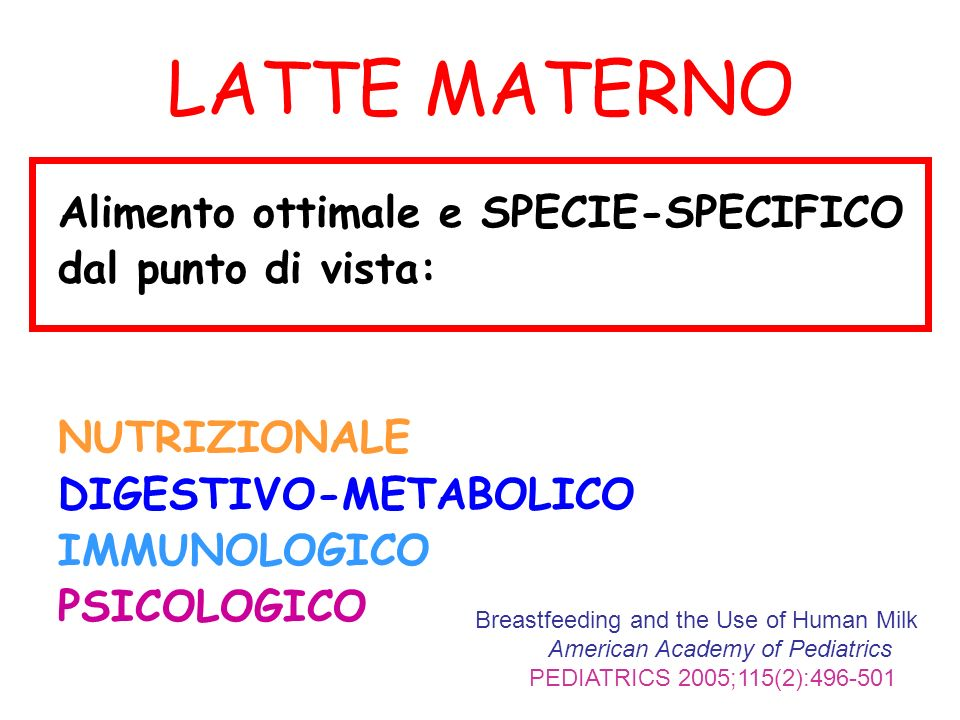 LATTE MATERNO Alimento ottimale e SPECIE-SPECIFICO dal punto di vista: