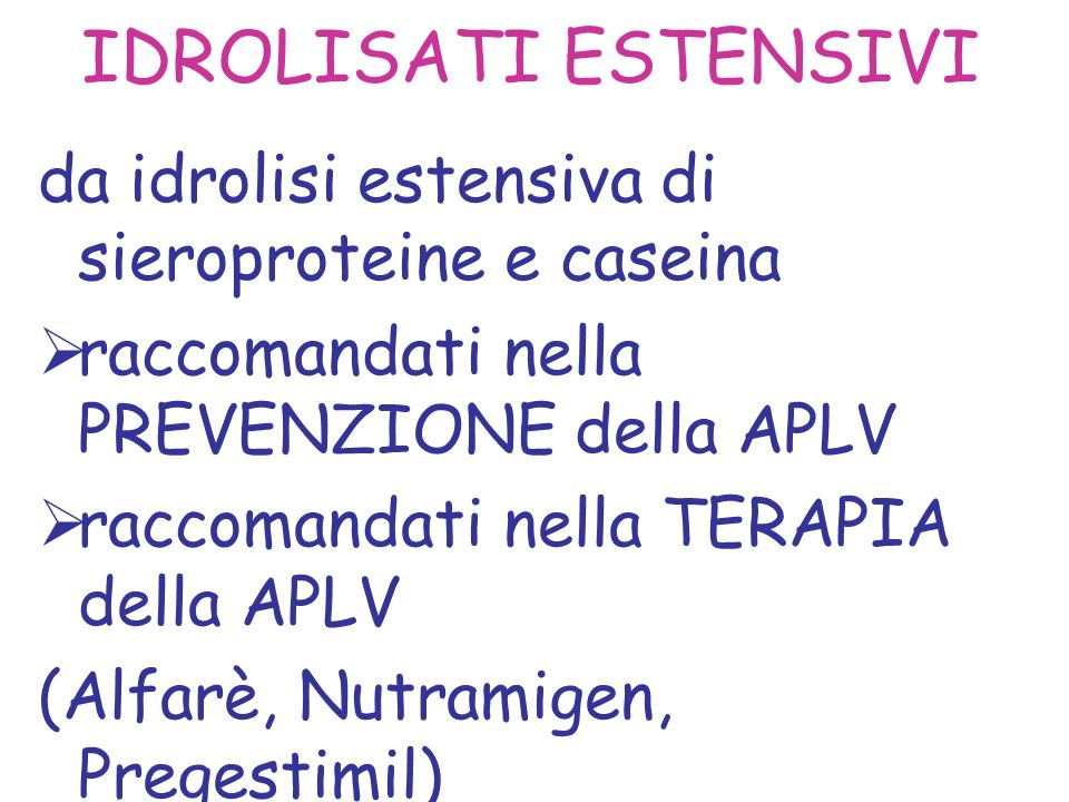IDROLISATI ESTENSIVI da idrolisi estensiva di sieroproteine e caseina
