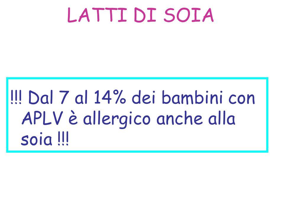 LATTI DI SOIA !!! Dal 7 al 14% dei bambini con APLV è allergico anche alla soia !!!