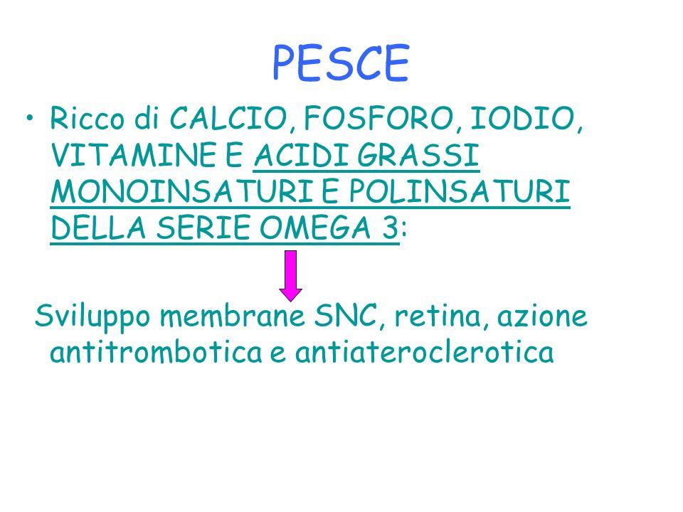 PESCE Ricco di CALCIO, FOSFORO, IODIO, VITAMINE E ACIDI GRASSI MONOINSATURI E POLINSATURI DELLA SERIE OMEGA 3: