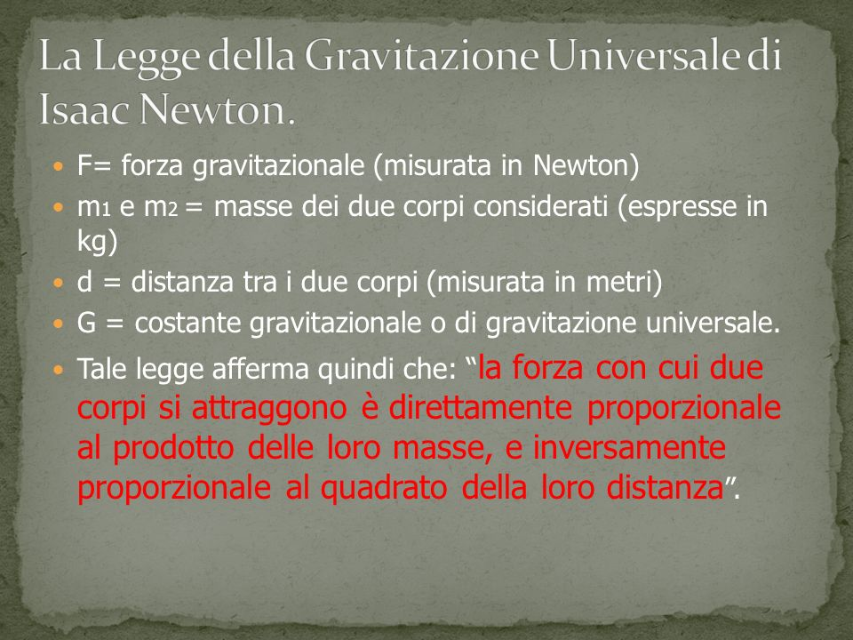 La Legge della Gravitazione Universale di Isaac Newton.