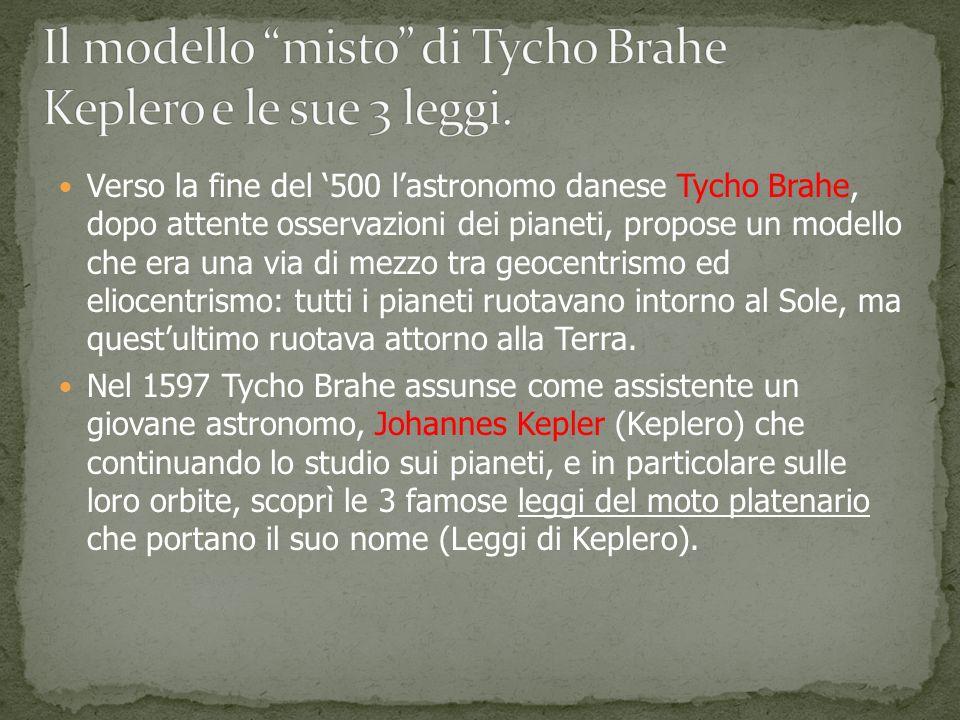 Il modello misto di Tycho Brahe Keplero e le sue 3 leggi.