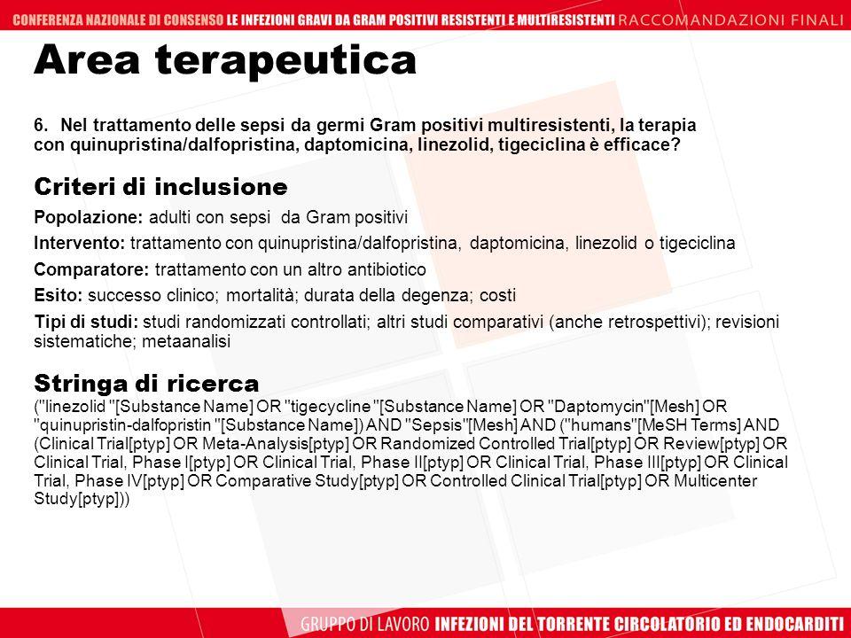 Area terapeutica Criteri di inclusione Stringa di ricerca