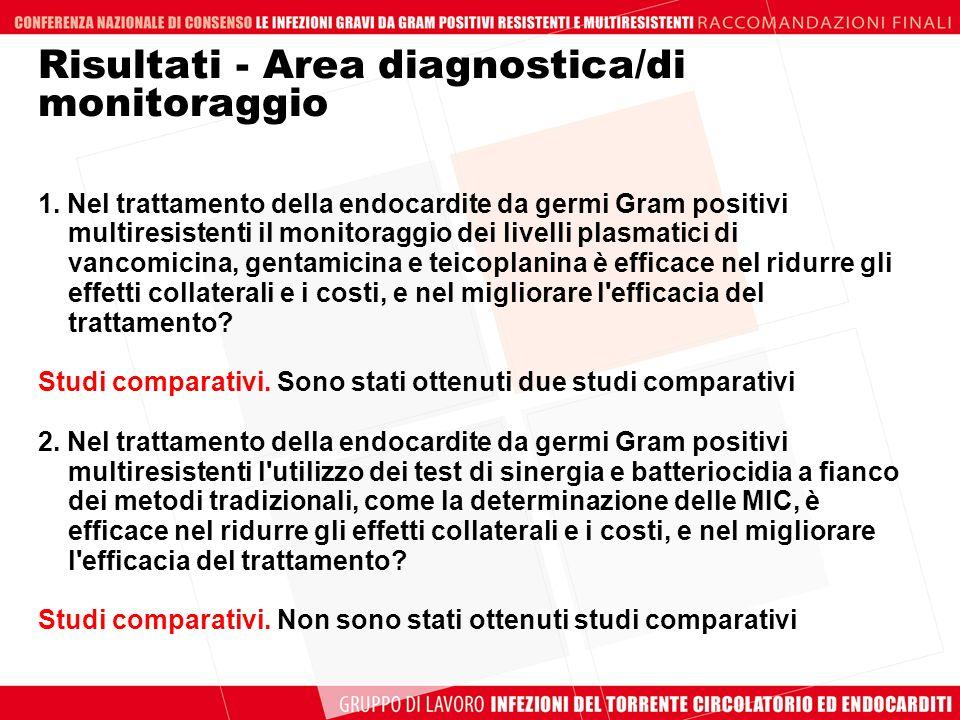Risultati - Area diagnostica/di monitoraggio
