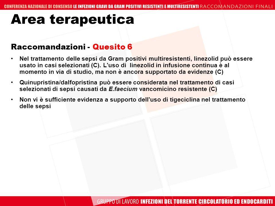 Area terapeutica Raccomandazioni - Quesito 6