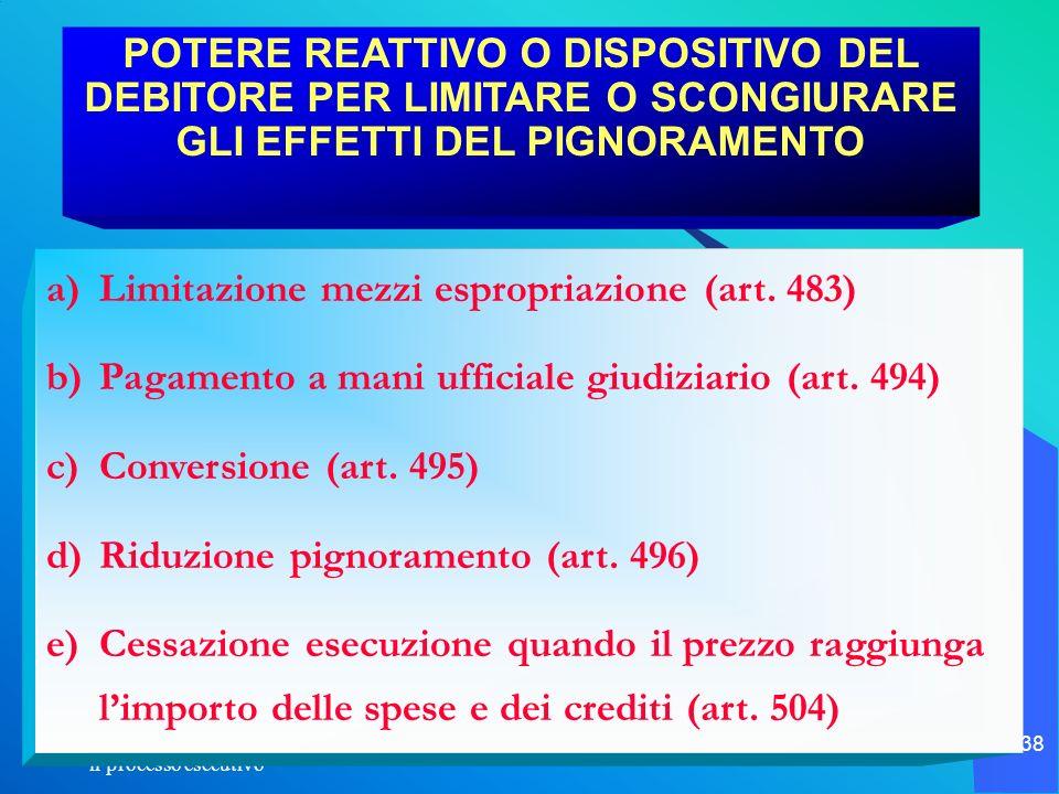Limitazione mezzi espropriazione (art. 483)