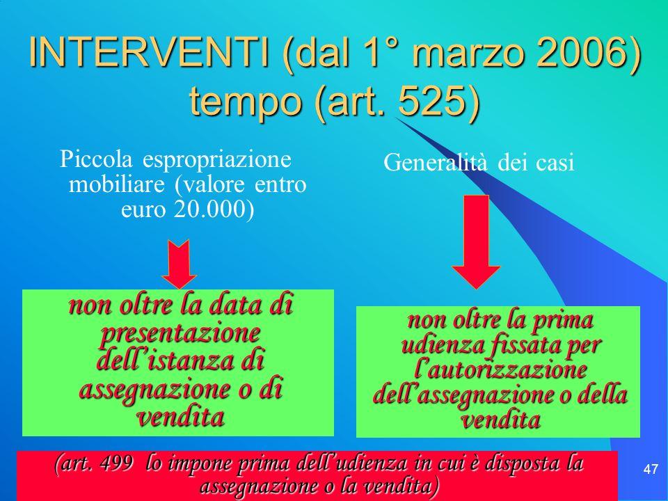 INTERVENTI (dal 1° marzo 2006) tempo (art. 525)