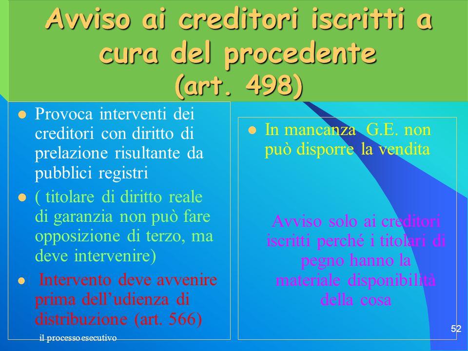 Avviso ai creditori iscritti a cura del procedente (art. 498)