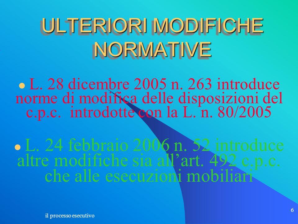 ULTERIORI MODIFICHE NORMATIVE
