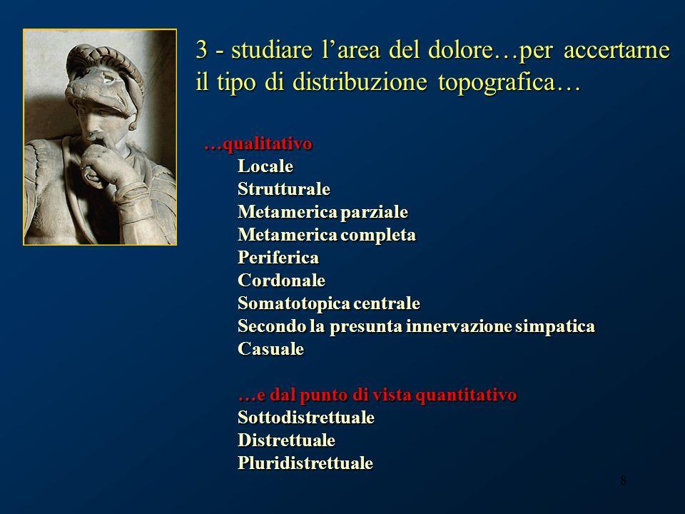 3 - studiare l'area del dolore…per accertarne il tipo di distribuzione topografica…