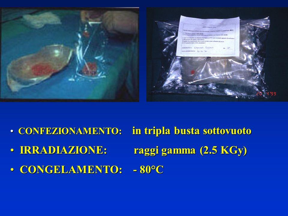 IRRADIAZIONE: raggi gamma (2.5 KGy) CONGELAMENTO: - 80°C