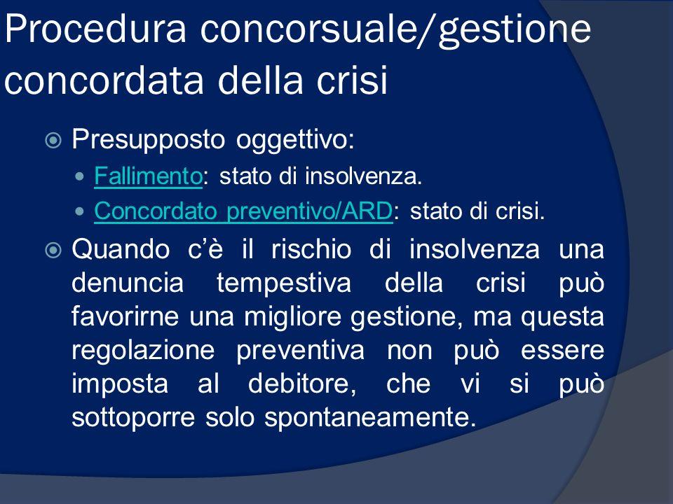 Procedura concorsuale/gestione concordata della crisi