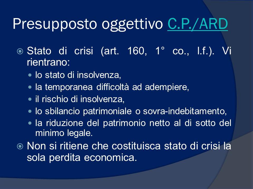 Presupposto oggettivo C.P./ARD