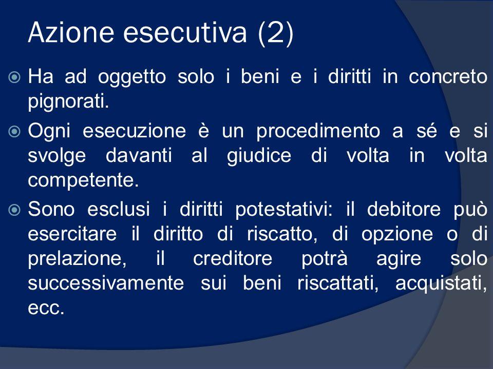 Azione esecutiva (2) Ha ad oggetto solo i beni e i diritti in concreto pignorati.