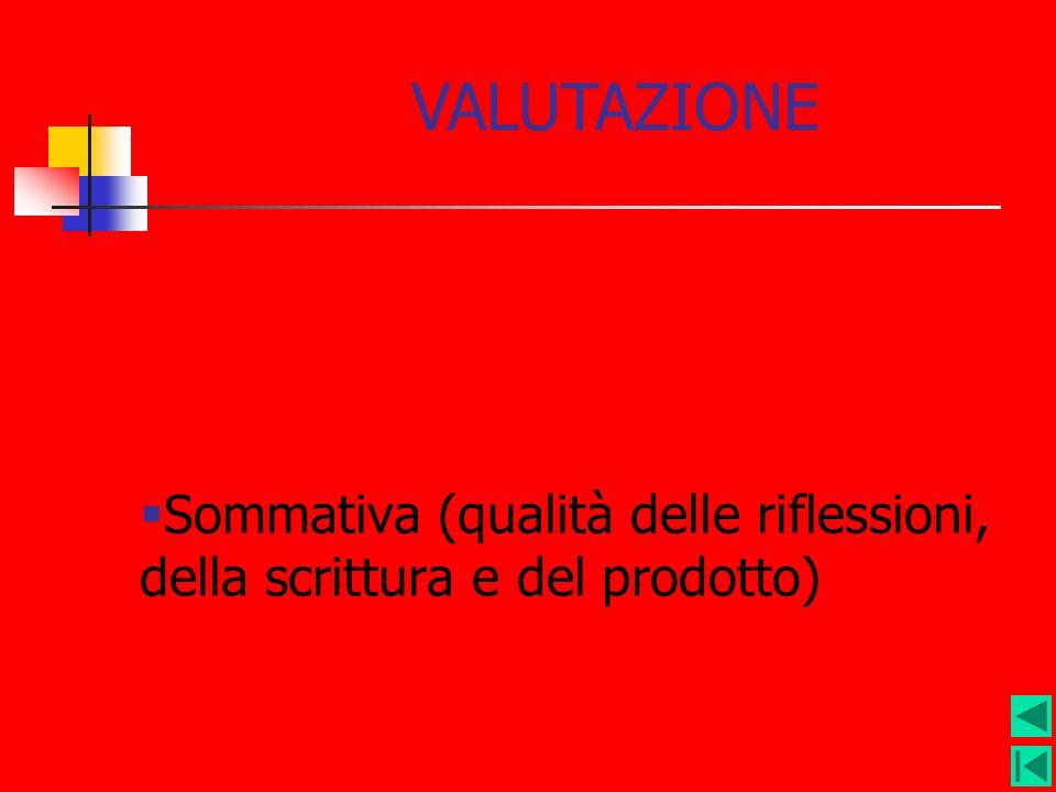 Sommativa (qualità delle riflessioni, della scrittura e del prodotto)