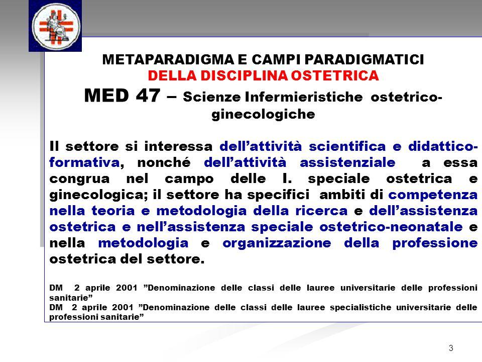 METAPARADIGMA E CAMPI PARADIGMATICI DELLA DISCIPLINA OSTETRICA