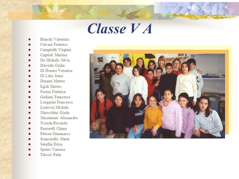 Classe V A Bianchi Valentina Calvani Federico Campitelli Virginia