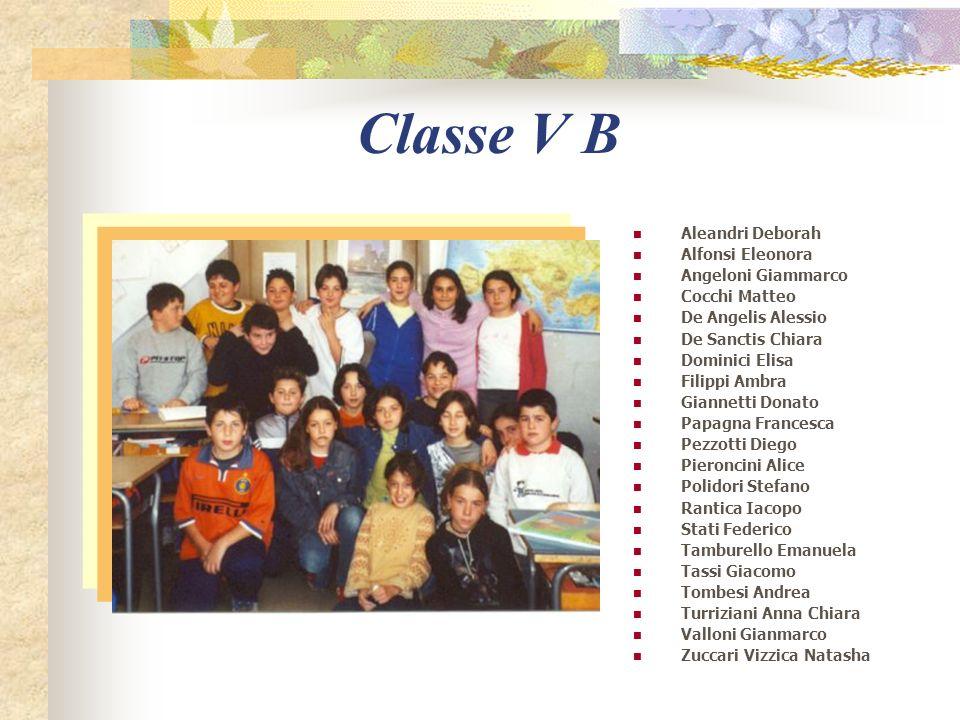 Classe V B Aleandri Deborah Alfonsi Eleonora Angeloni Giammarco