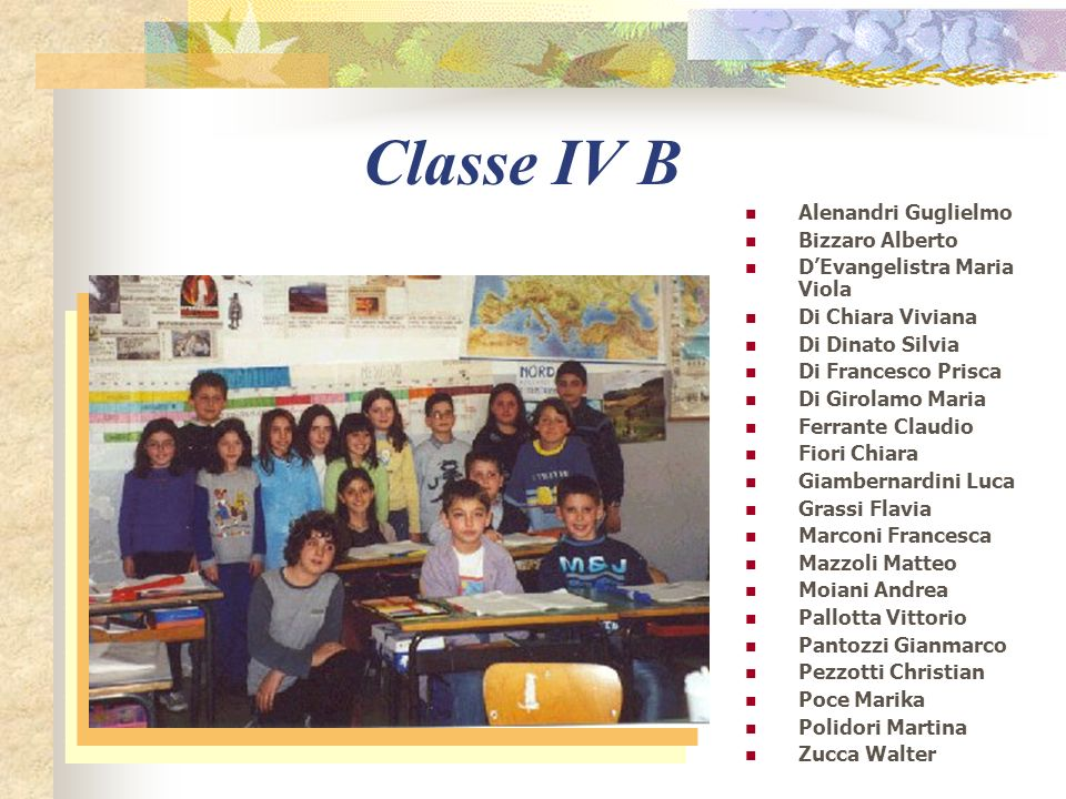 Classe IV B Alenandri Guglielmo Bizzaro Alberto