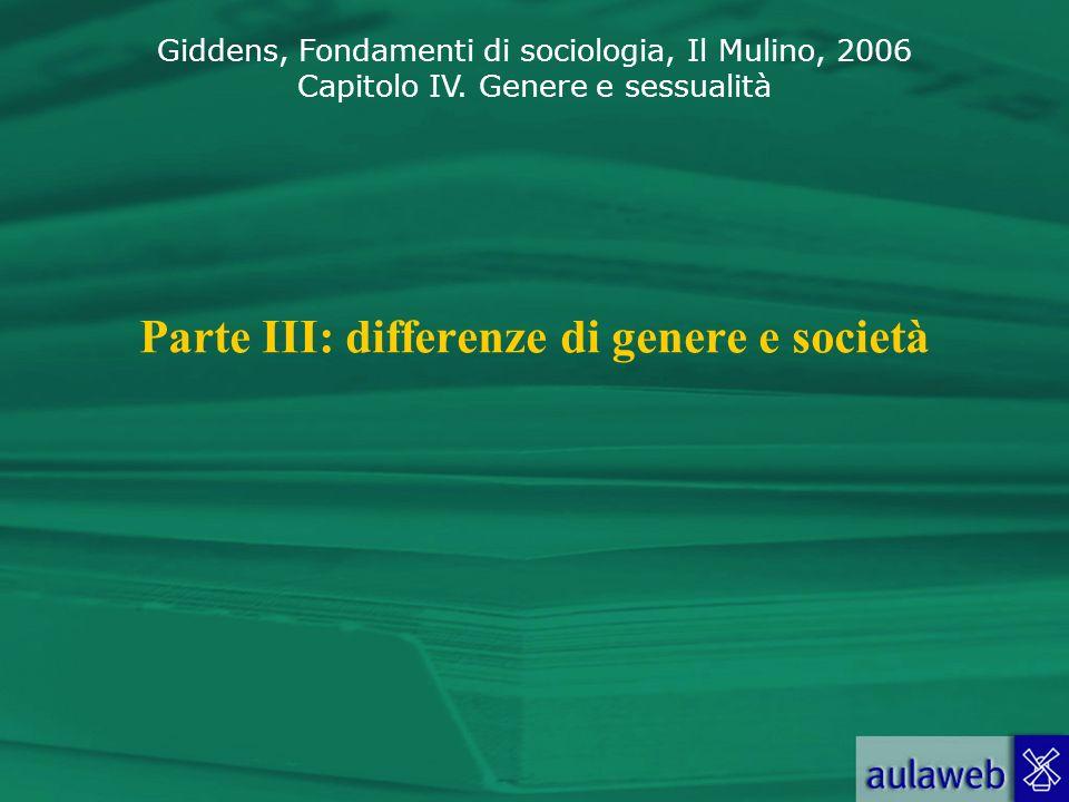 Parte III: differenze di genere e società