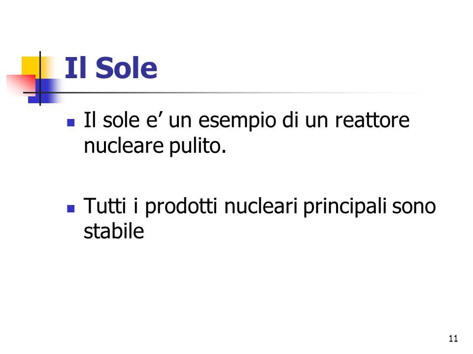 Il Sole Il sole e' un esempio di un reattore nucleare pulito.