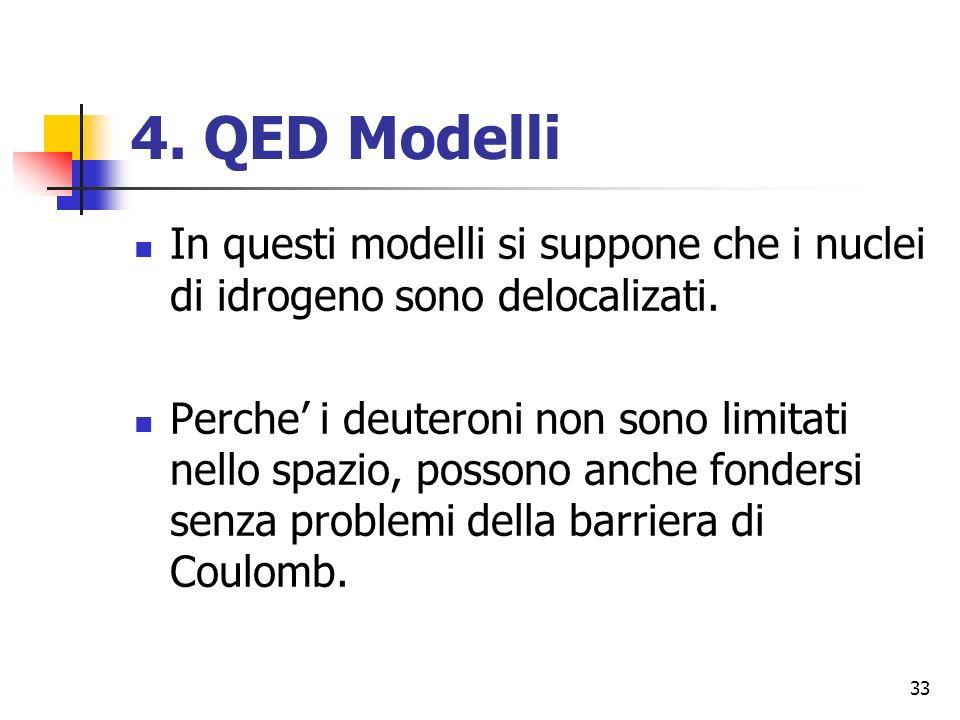 4. QED Modelli In questi modelli si suppone che i nuclei di idrogeno sono delocalizati.