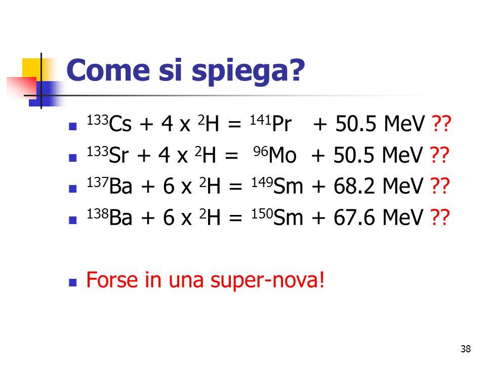 Come si spiega 133Cs + 4 x 2H = 141Pr + 50.5 MeV